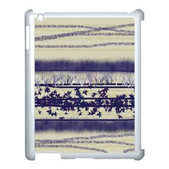 Abstract Beige Blue Lines Apple Ipad 3/4 Case (white)