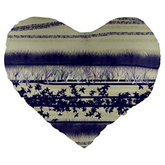 Abstract Beige Blue Lines Large 19  Premium Heart Shape Cushions
