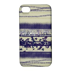Abstract Beige Blue Lines Apple Iphone 4/4s Hardshell Case With Stand
