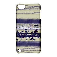 Abstract Beige Blue Lines Apple Ipod Touch 5 Hardshell Case With Stand