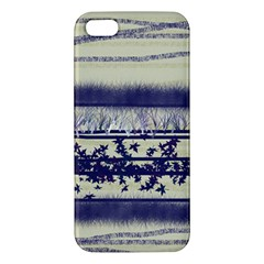 Abstract Beige Blue Lines Apple Iphone 5 Premium Hardshell Case