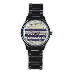 Abstract Beige Blue Lines Stainless Steel Round Watch