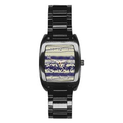 Abstract Beige Blue Lines Stainless Steel Barrel Watch