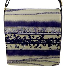 Abstract Beige Blue Lines Flap Closure Messenger Bag (s)