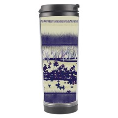 Abstract Beige Blue Lines Travel Tumbler