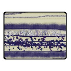 Abstract Beige Blue Lines Double Sided Fleece Blanket (small)
