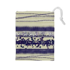 Abstract Beige Blue Lines Drawstring Pouch (large)