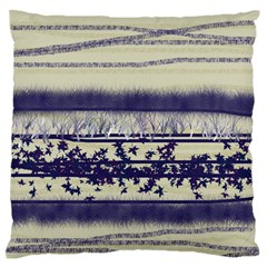 Abstract Beige Blue Lines Standard Flano Cushion Case (two Sides)