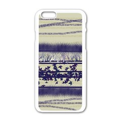 Abstract Beige Blue Lines Apple Iphone 6/6s White Enamel Case