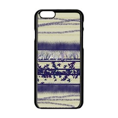 Abstract Beige Blue Lines Apple Iphone 6/6s Black Enamel Case