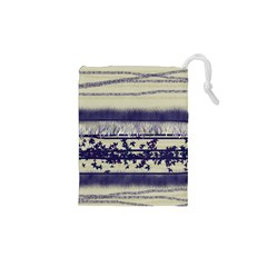 Abstract Beige Blue Lines Drawstring Pouch (xs)