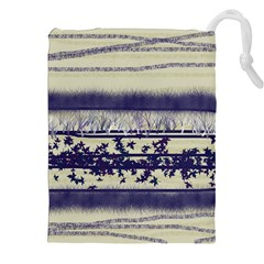 Abstract Beige Blue Lines Drawstring Pouch (xxl)