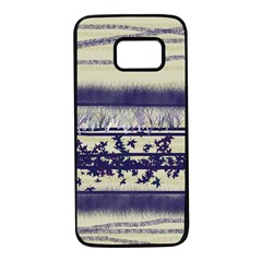 Abstract Beige Blue Lines Samsung Galaxy S7 Black Seamless Case