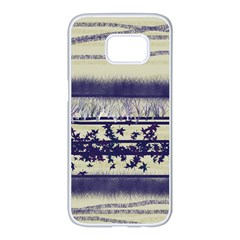 Abstract Beige Blue Lines Samsung Galaxy S7 Edge White Seamless Case