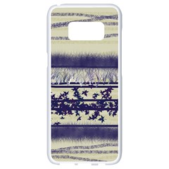 Abstract Beige Blue Lines Samsung Galaxy S8 White Seamless Case