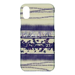 Abstract Beige Blue Lines Apple Iphone X Hardshell Case