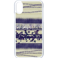 Abstract Beige Blue Lines Apple Iphone X Seamless Case (white)