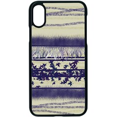 Abstract Beige Blue Lines Apple Iphone X Seamless Case (black)