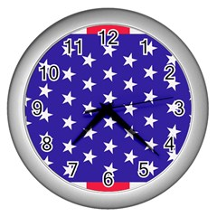 Day Independence July Background Wall Clock (silver)