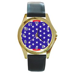Day Independence July Background Round Gold Metal Watch
