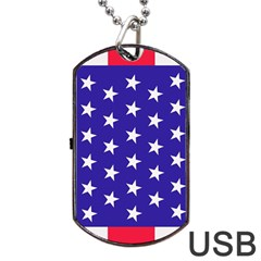 Day Independence July Background Dog Tag Usb Flash (one Side) by Simbadda
