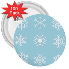 Snowflakes Winter Graphics Weather 3  Buttons (100 Pack)