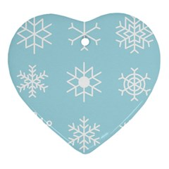 Snowflakes Winter Graphics Weather Heart Ornament (two Sides) by Simbadda