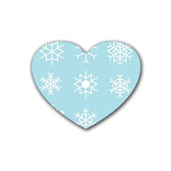 Snowflakes Winter Graphics Weather Rubber Coaster (heart)