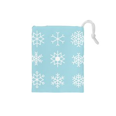 Snowflakes Winter Graphics Weather Drawstring Pouch (small)