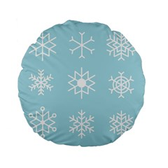 Snowflakes Winter Graphics Weather Standard 15  Premium Flano Round Cushions