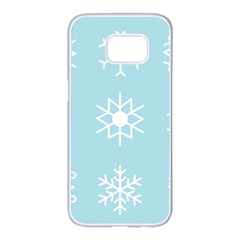 Snowflakes Winter Graphics Weather Samsung Galaxy S7 Edge White Seamless Case