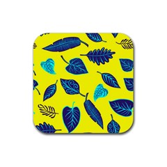 Leaves Pattern Picture Detail Rubber Square Coaster (4 Pack)  by Simbadda