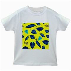 Leaves Pattern Picture Detail Kids White T-shirts by Simbadda