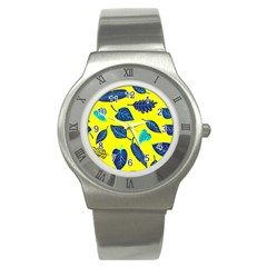 Leaves Pattern Picture Detail Stainless Steel Watch by Simbadda