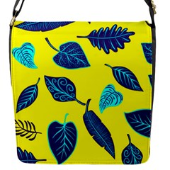Leaves Pattern Picture Detail Flap Closure Messenger Bag (s)