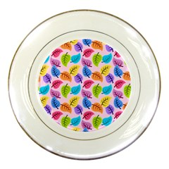 Colorful Leaves Porcelain Plates by vintage2030