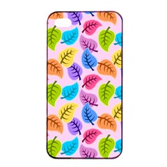 Colorful Leaves Apple Iphone 4/4s Seamless Case (black) by vintage2030