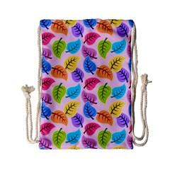 Colorful Leaves Drawstring Bag (small) by vintage2030