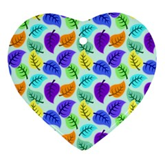 Colorful Leaves Blue Ornament (heart) by vintage2030