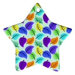 Colorful Leaves Blue Ornament (star) by vintage2030