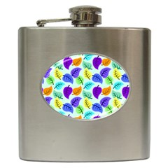 Colorful Leaves Blue Hip Flask (6 Oz)