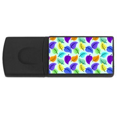 Colorful Leaves Blue Rectangular Usb Flash Drive by vintage2030