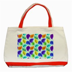 Colorful Leaves Blue Classic Tote Bag (red) by vintage2030