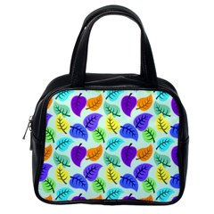 Colorful Leaves Blue Classic Handbag (one Side)
