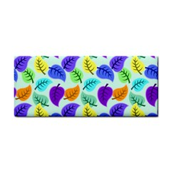 Colorful Leaves Blue Hand Towel by vintage2030