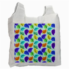 Colorful Leaves Blue Recycle Bag (one Side) by vintage2030