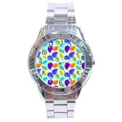Colorful Leaves Blue Stainless Steel Analogue Watch by vintage2030