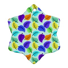 Colorful Leaves Blue Snowflake Ornament (two Sides) by vintage2030
