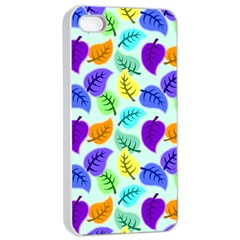 Colorful Leaves Blue Apple Iphone 4/4s Seamless Case (white) by vintage2030