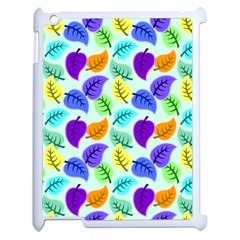 Colorful Leaves Blue Apple Ipad 2 Case (white)